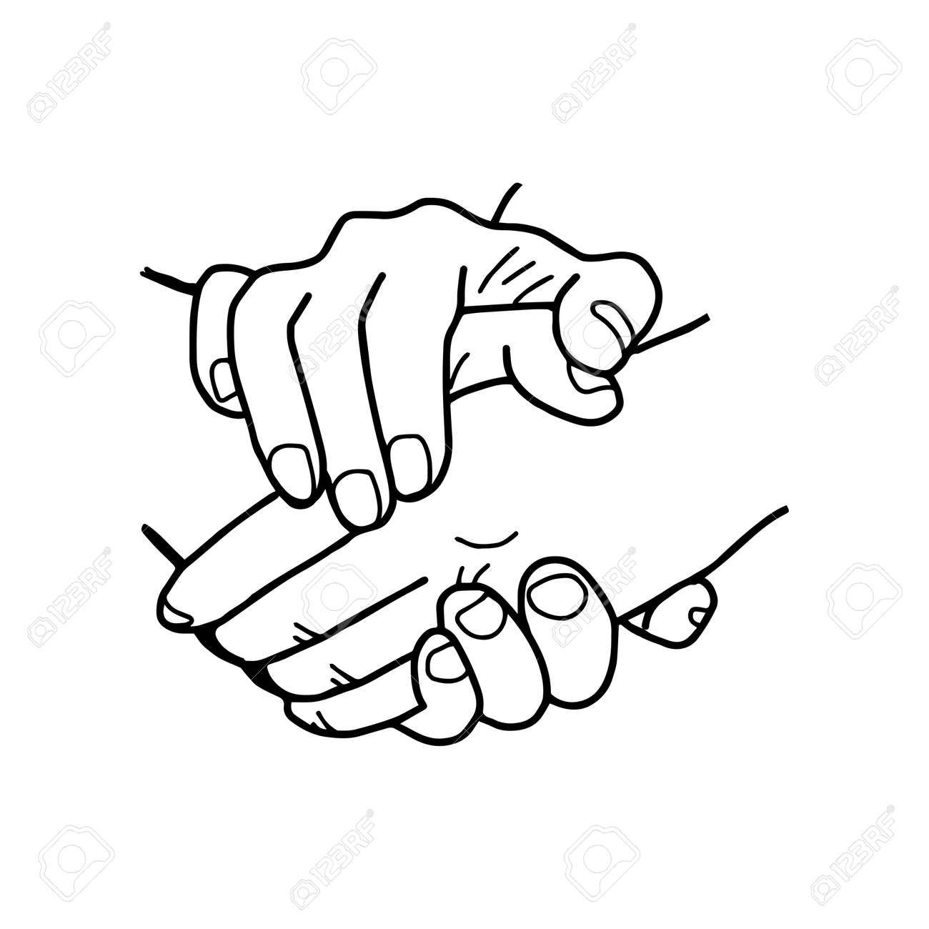 Partneship. hand drawn handshake vector illustration - 69022140