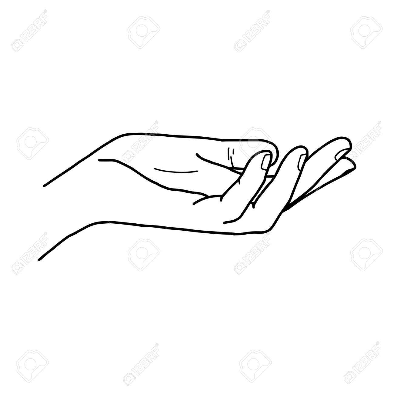 Illustration Vector Doodle Hand Drawn Of Open Hand Giving Or ...