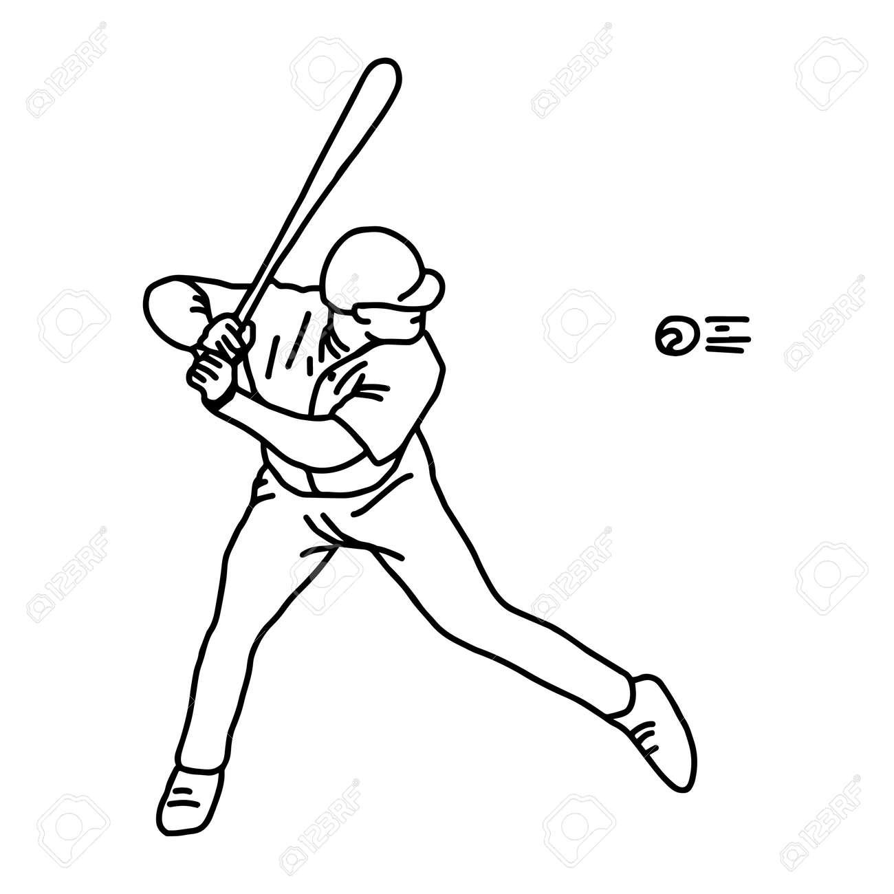Baseball Throws Ball Vector Illustration Sketch Hand Drawn