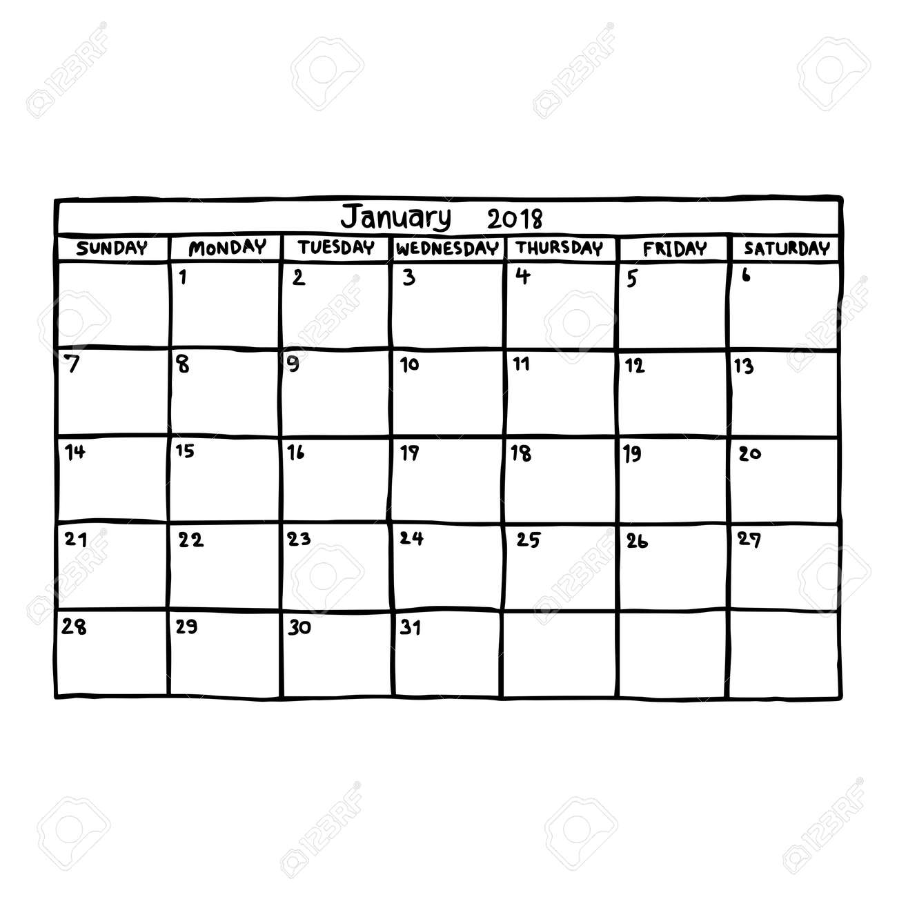 calendar january 2018 vector illustration sketch hand drawn with black lines isolated on white