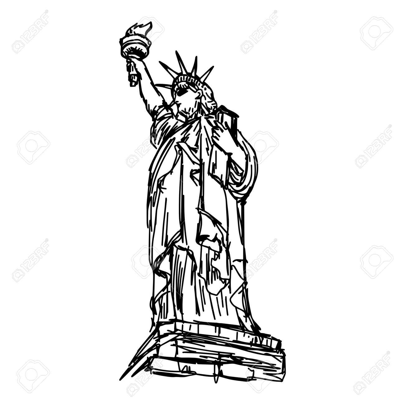 ベクトル イラスト 自由の女神像をスケッチ白い背景で隔離の黒い線で