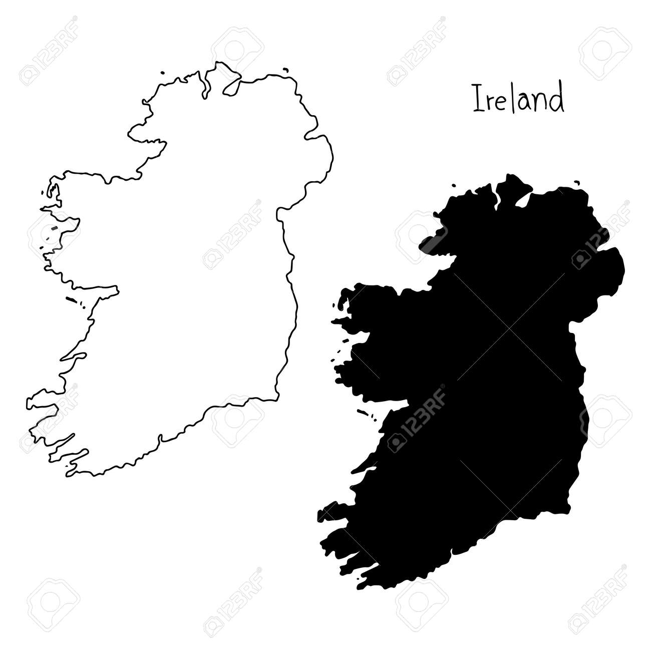 Map Of Ireland Vector.Outline And Silhouette Map Of Ireland Vector Illustration Hand