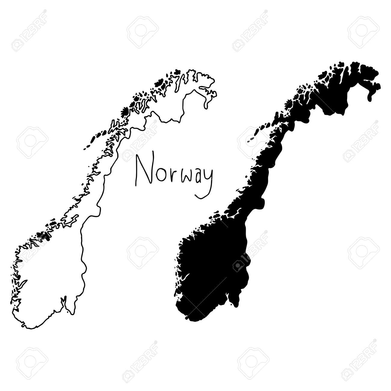 Outline And Silhouette Map Of Norway Vector Illustration Hand - Map silhouette