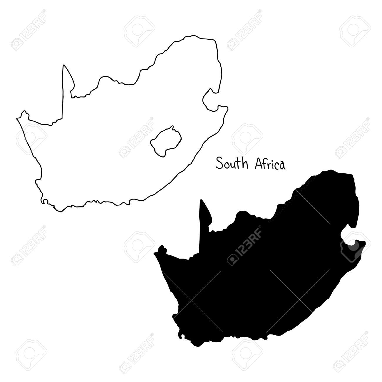 outline and silhouette map of south africa vector illustration hand drawn with black lines