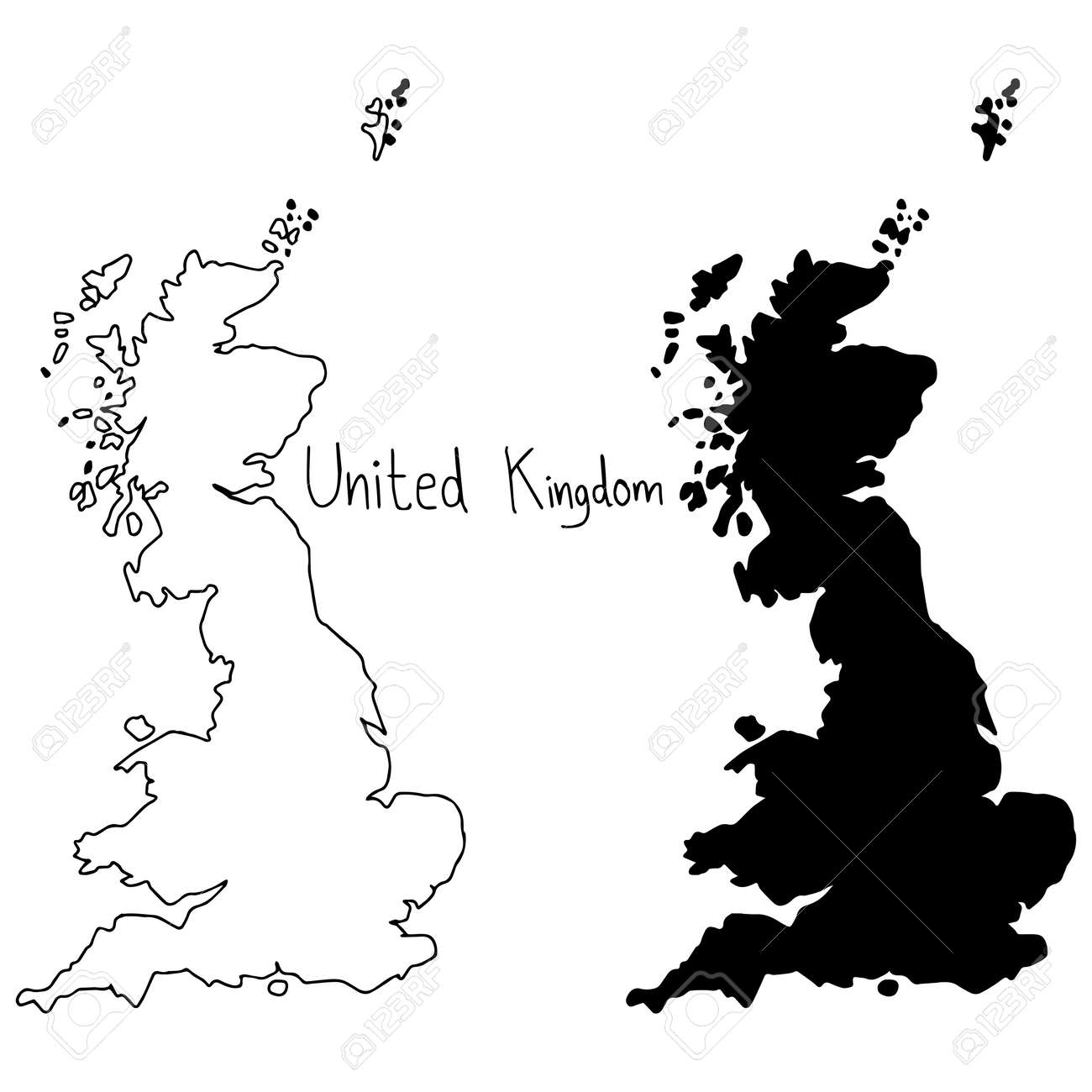 Outline And Silhouette Map Of United Kingdom Vector Illustration - United kingdom map vector
