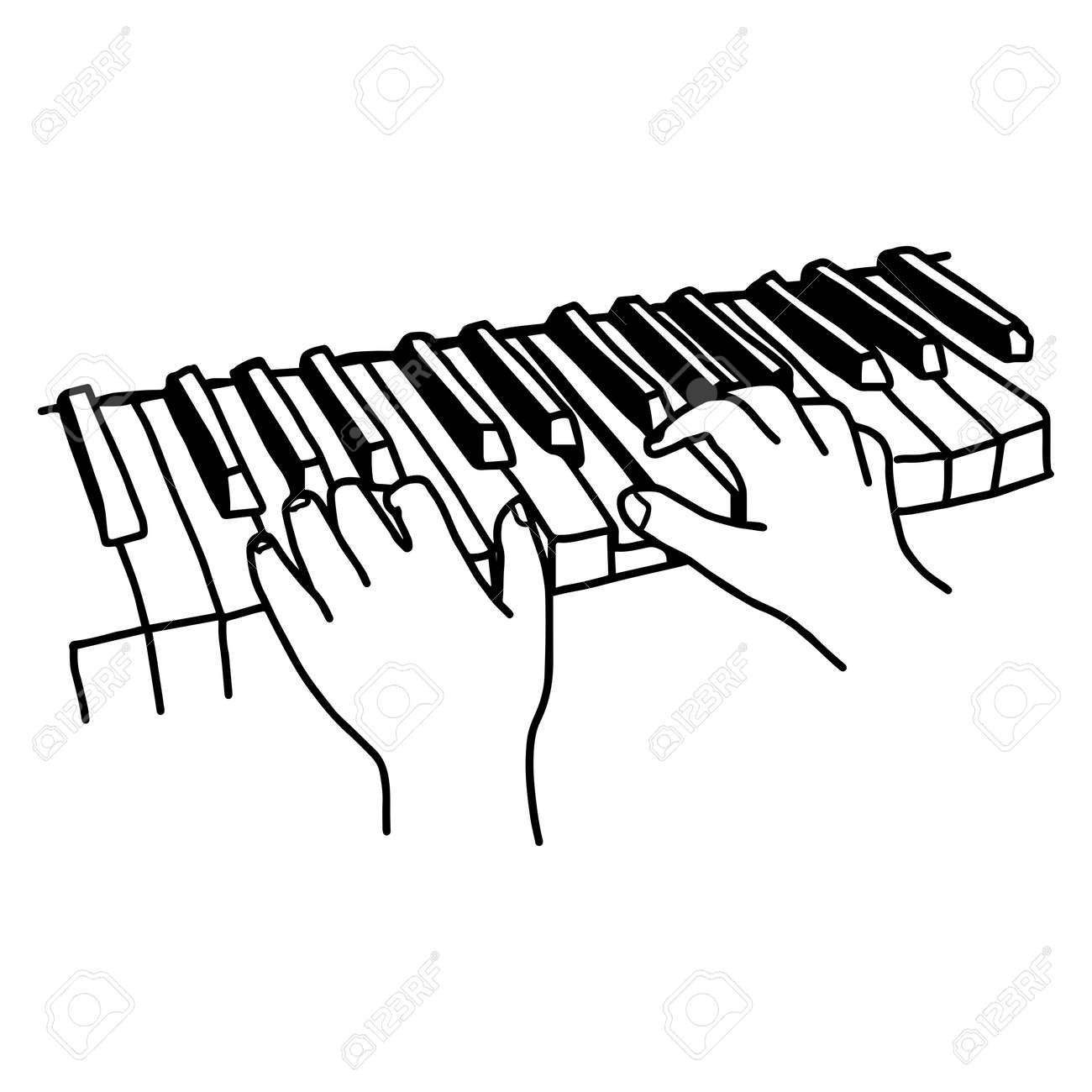 Closeup Hands Playing The Keyboard Or Piano