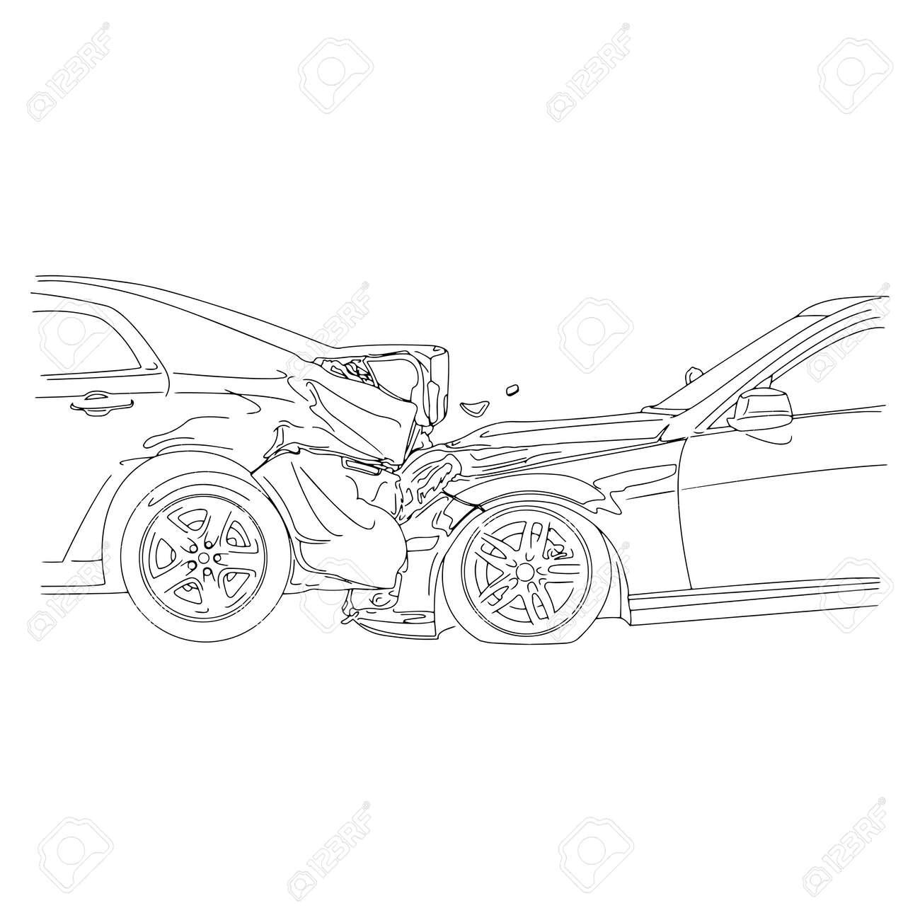Autounfall Mit Zwei Autos - Vektor-Illustration Skizzieren Skizze ...