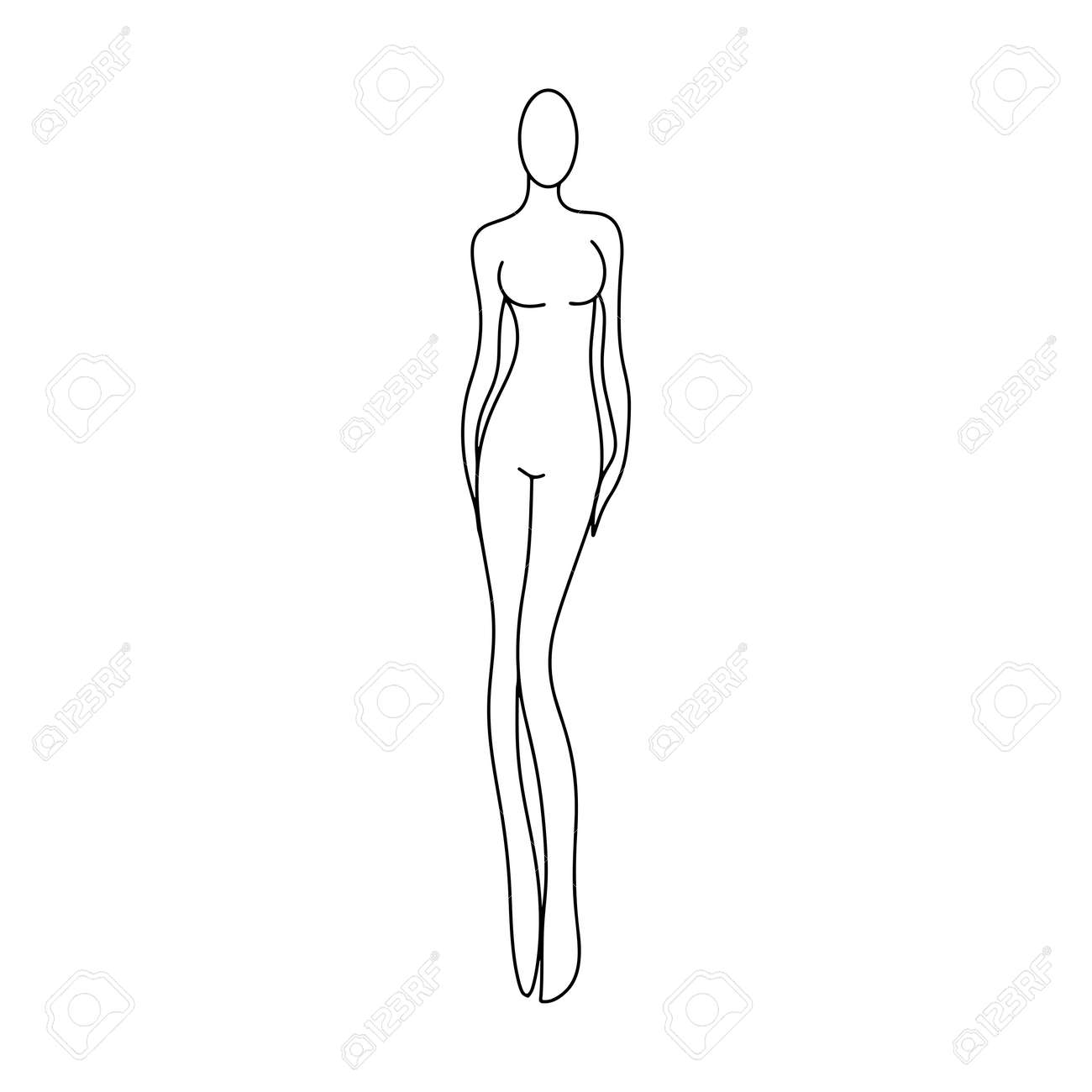 outline girl model template for fashion women figure sketching