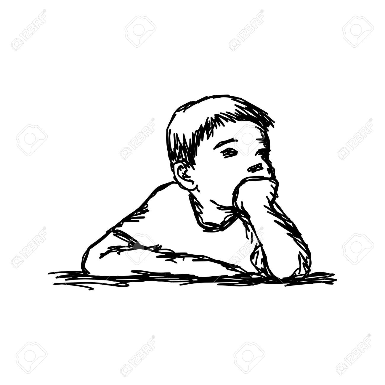 Boy thinking with resting chin outline sketch stock vector 92987294