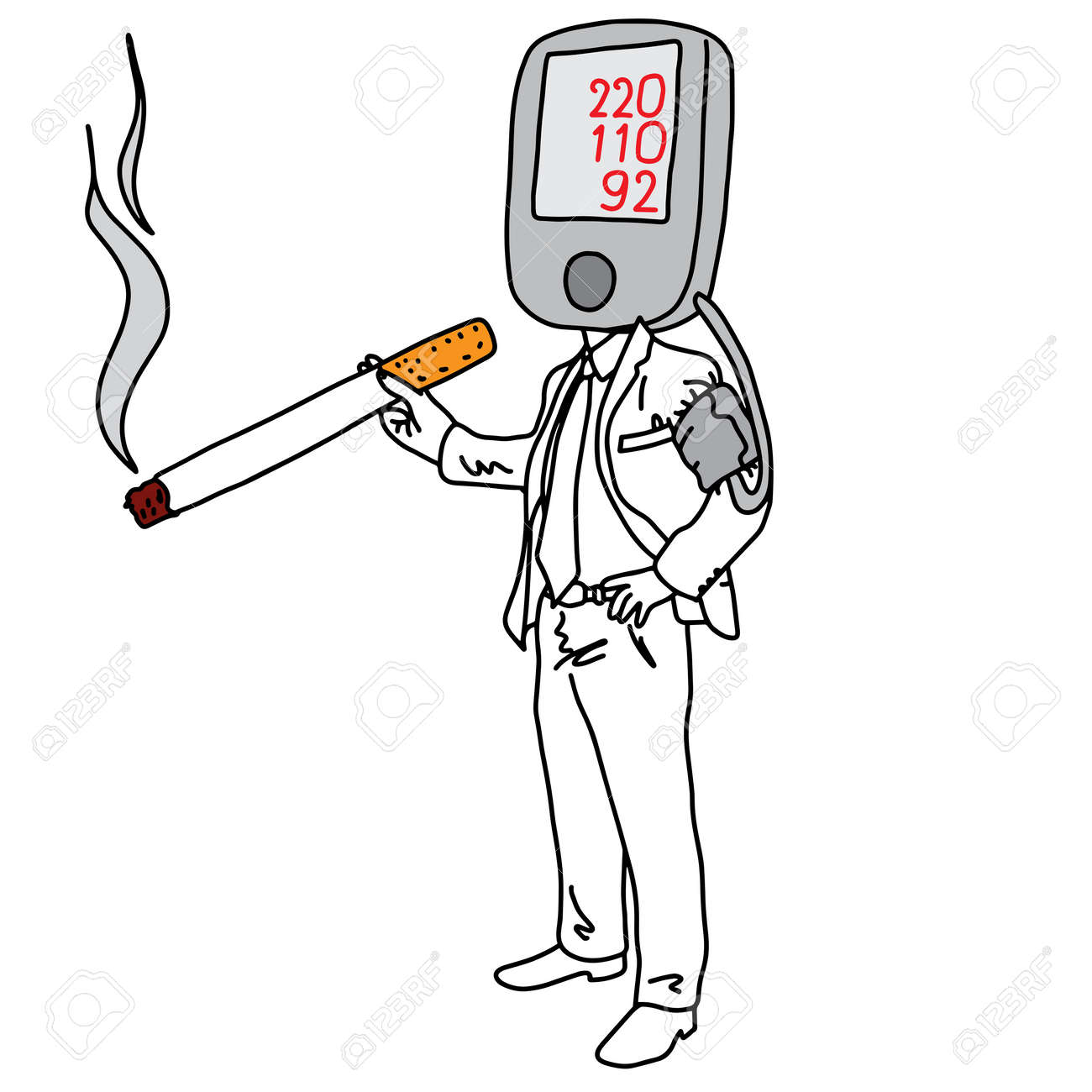 metaphor cause of high blood pressure or hypertension is smoking vector illustration sketch hand drawn with black lines, isolated on white background. Education Medical concept. - 94715381