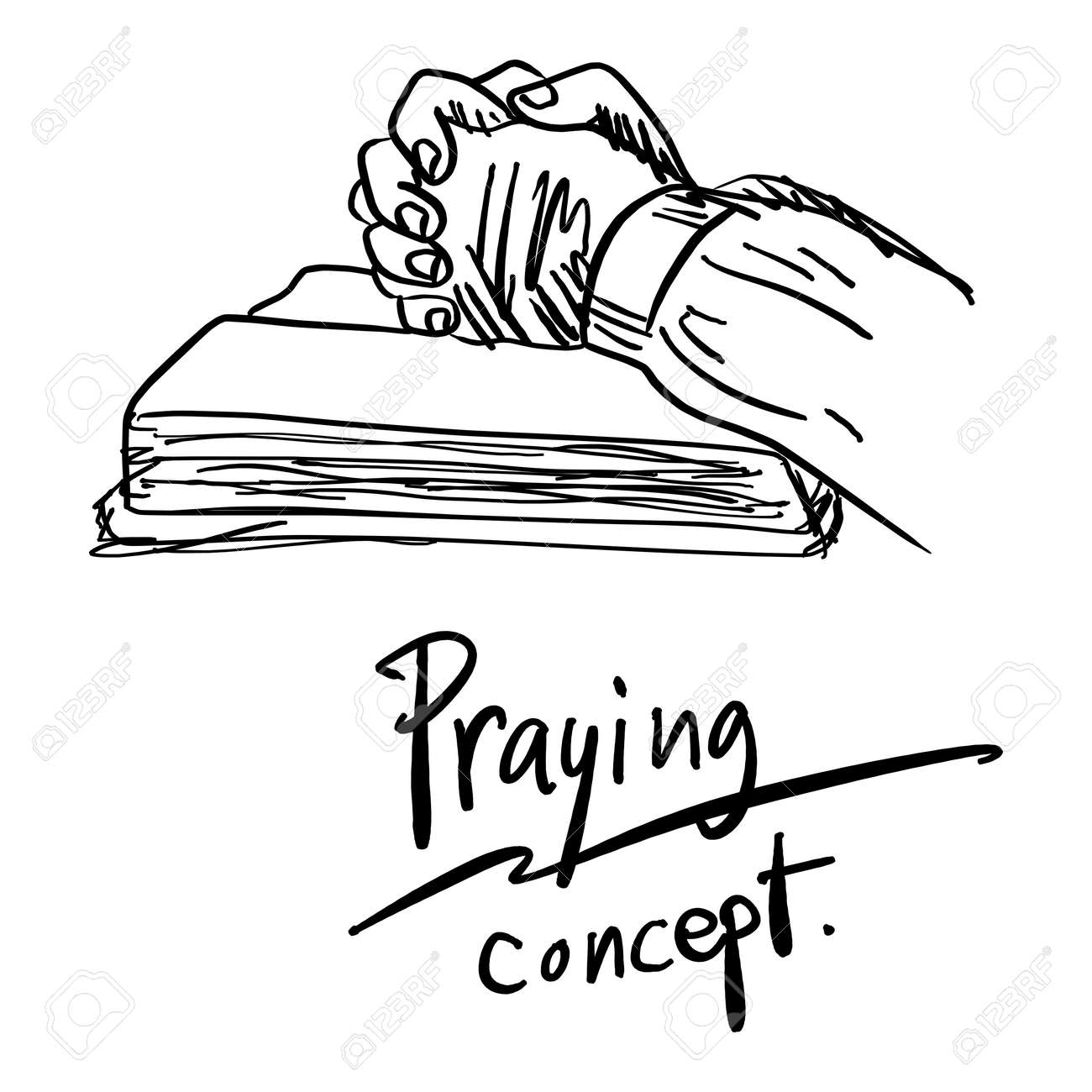 close up hand praying on bible vector illustration sketch hand