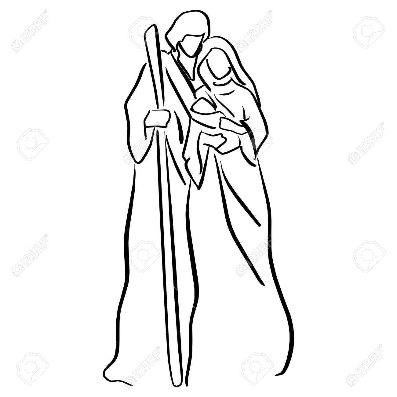 Nativity Scene with baby Jesus, Mary and Joseph vector illustration sketch doodle hand drawn with black lines isolated on white background. - 111834910