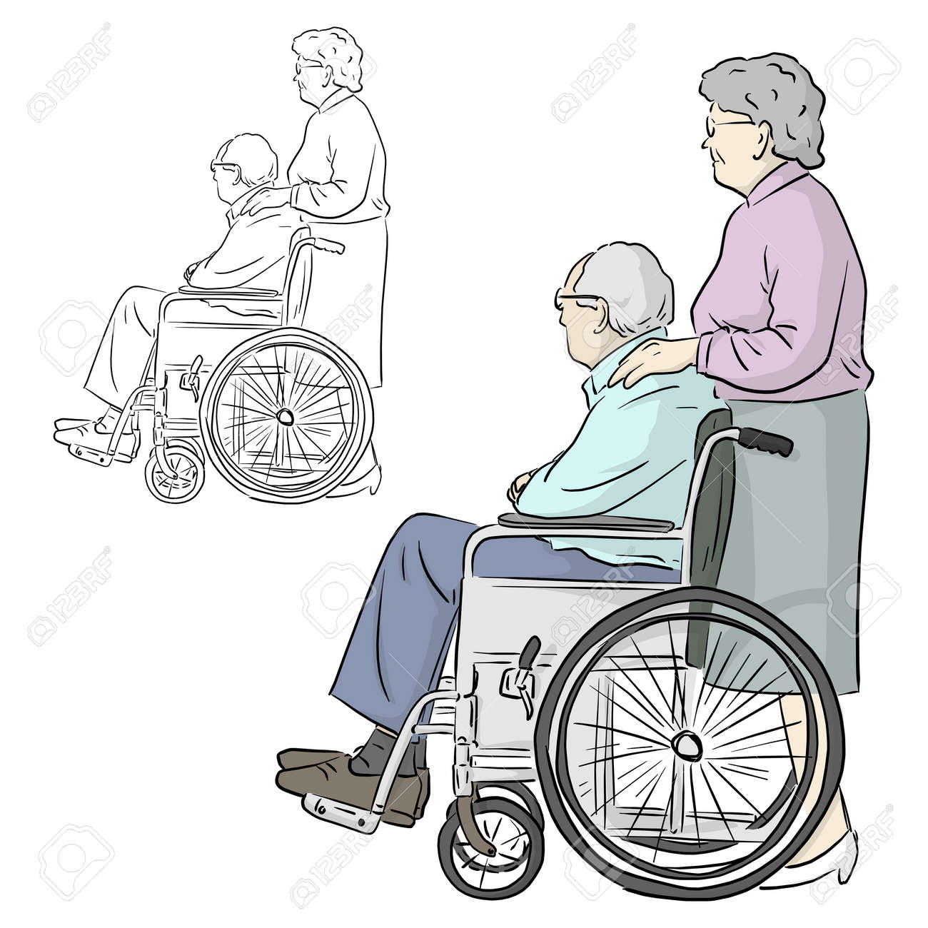 old woman standing with man sitting on wheelchair vector illustration sketch doodle hand drawn with black lines isolated on white background - 159125507