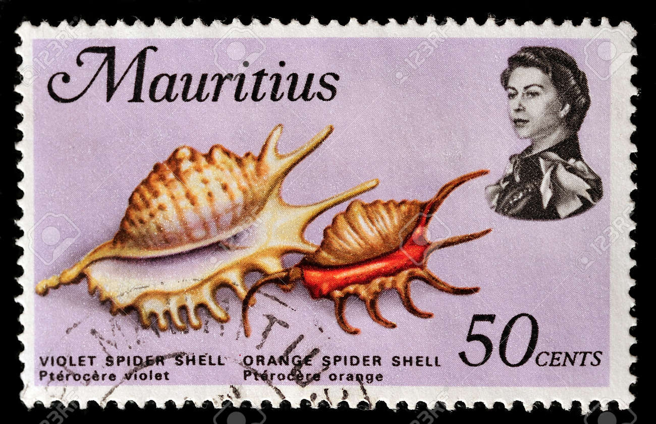 MAURITIUS - CIRCA 1969: A stamp printed in Mauritius shows violet