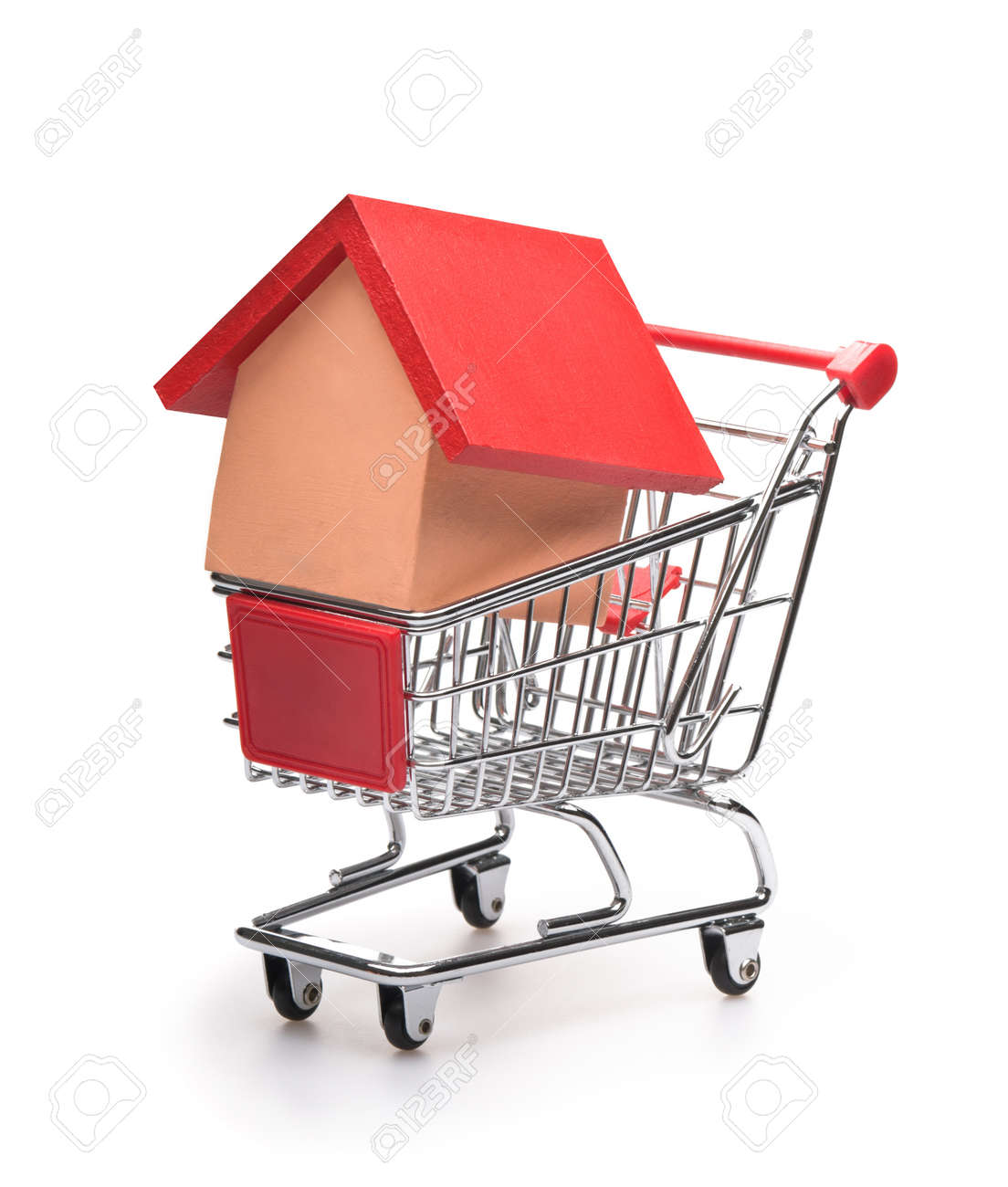 Shopping cart with red roofed house over white Stock Photo - 9364773
