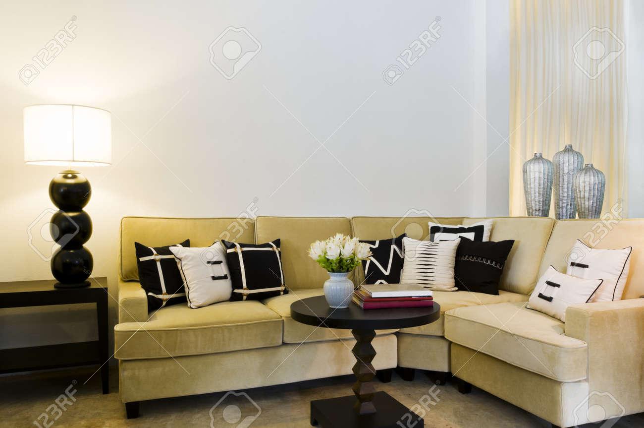 Contemporary sofa seating area beautiful interior design stock photo