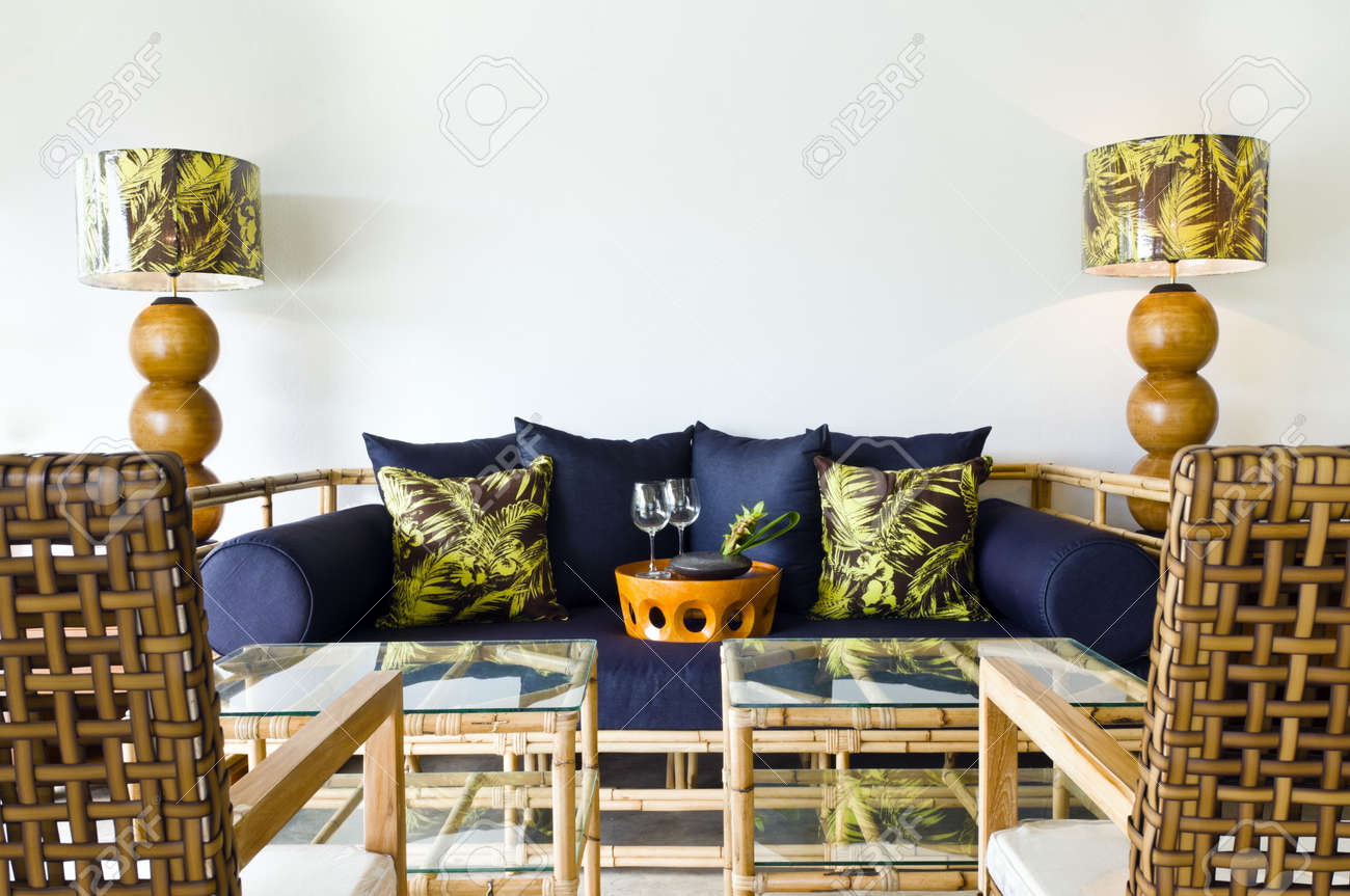 Contemporary Sofa Rattan Bamboo Seating Area Beautiful Interior ...