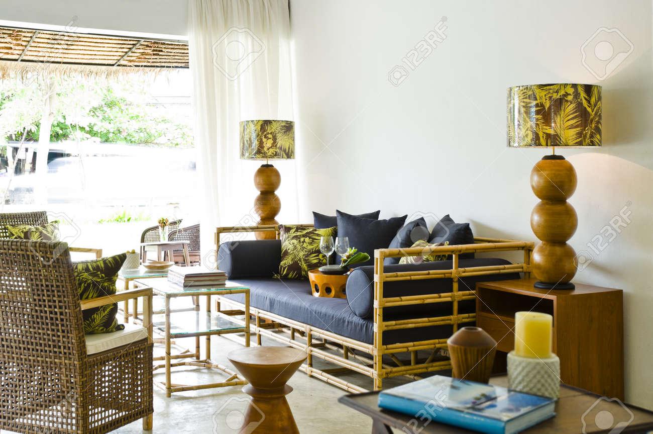 Contemporary Bamboo Sofa Seating Area Beautiful Interior Design ...