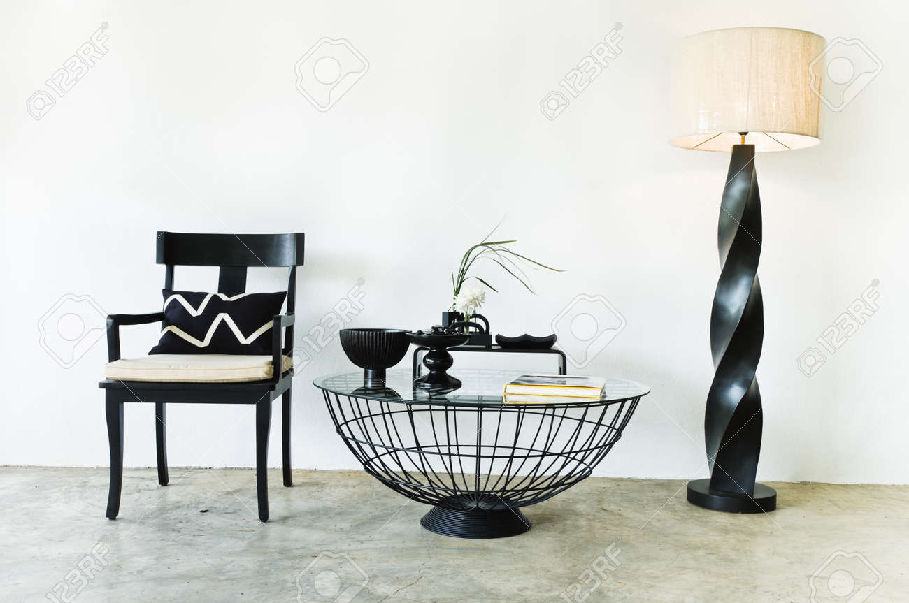 Contemporary seating combination in black with elegant pillows and details Stock Photo - 10503363