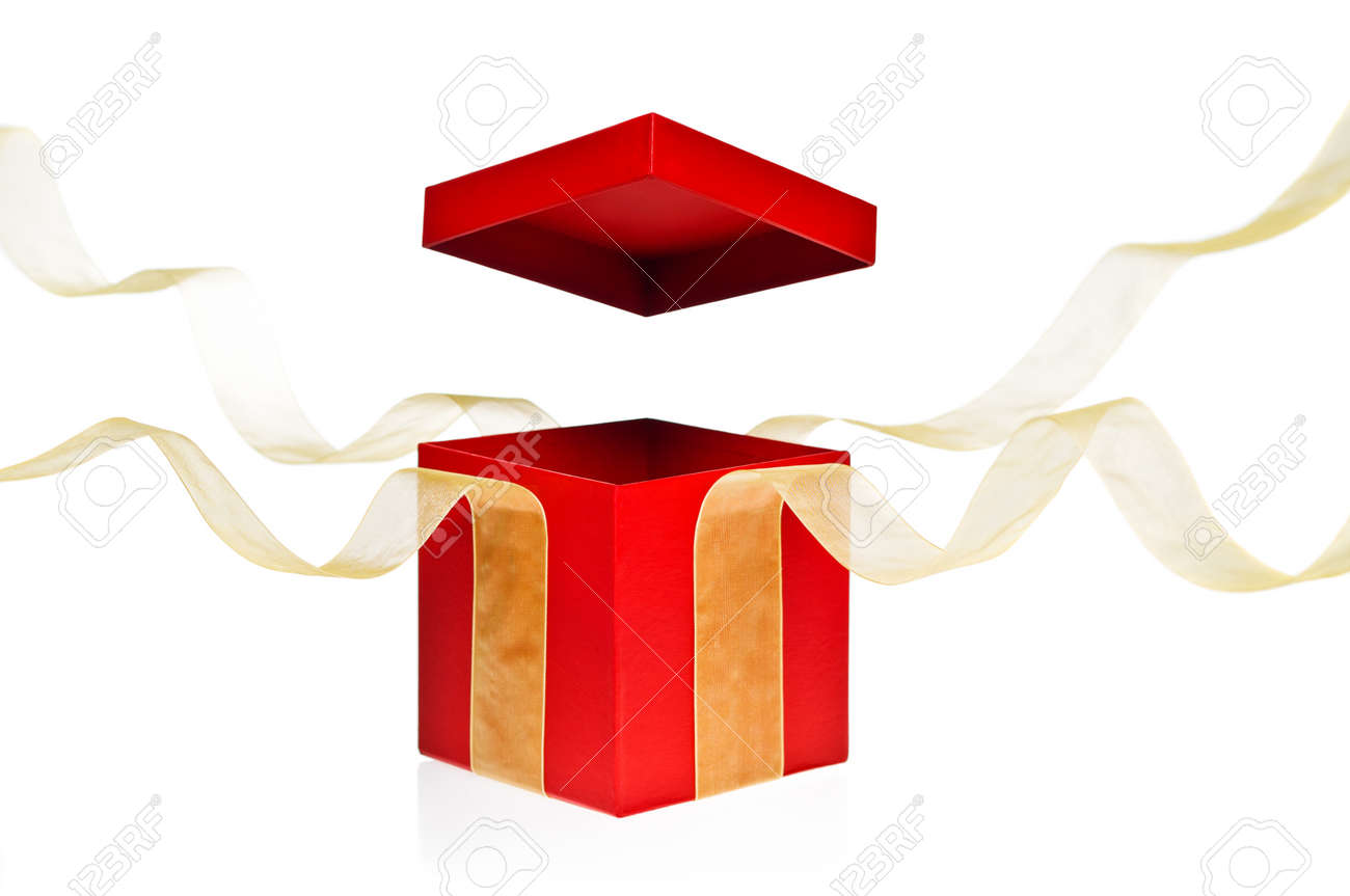 open present clipart. red present box with open cover and yellow flying ribbon stock photo 10741950 clipart