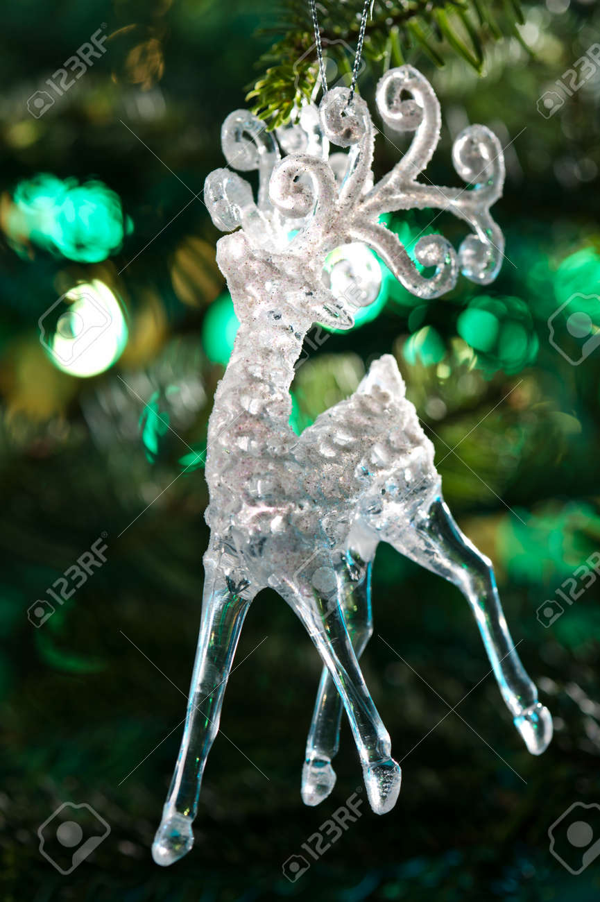 Decorative Chrystal moose shape ornament in a Christmas tree Stock Photo - 14219342