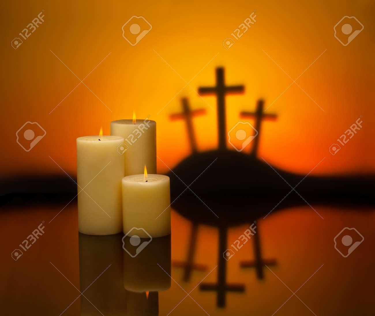 three crosses symbolic for jesus crucifixion in golgotha and