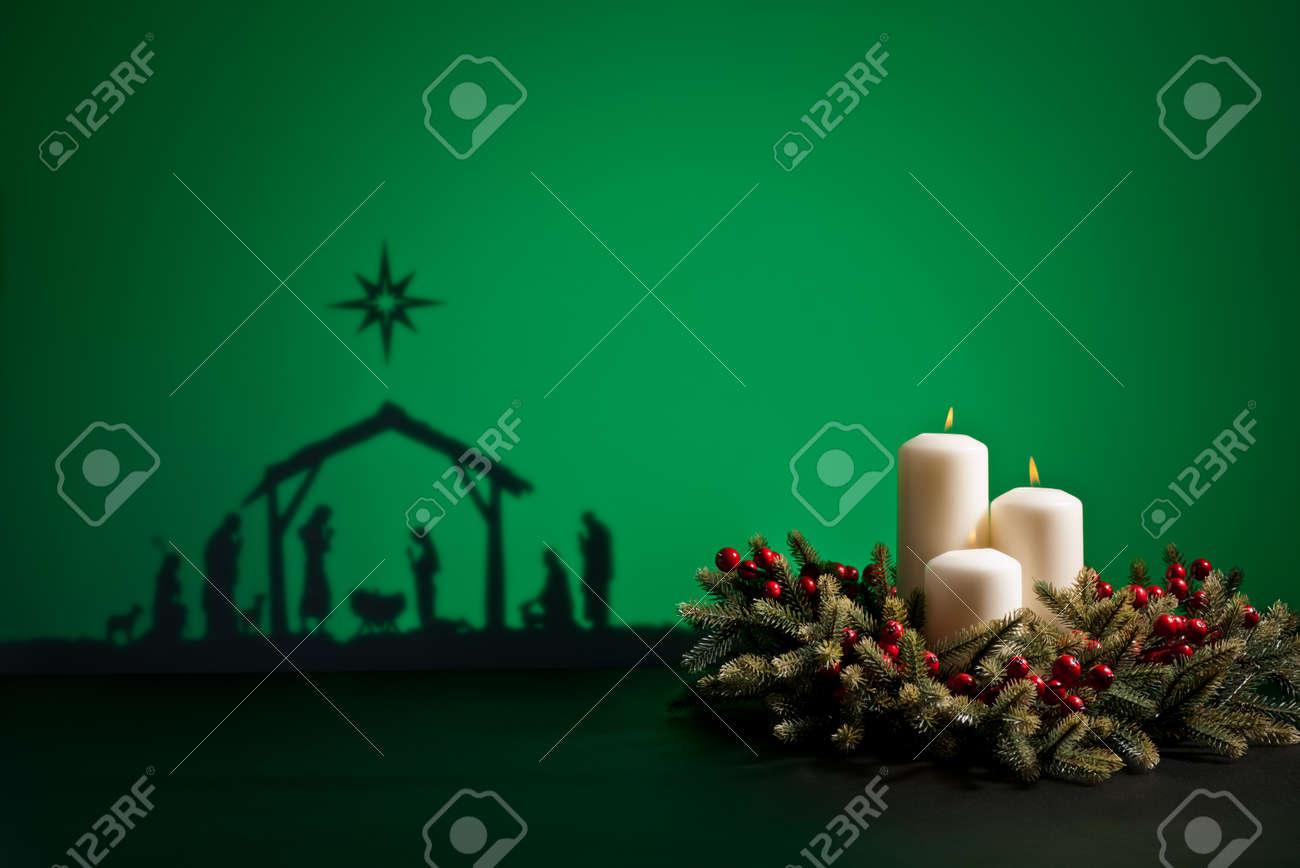 Birth Jesus silhouette of the crib in Bethlehem Stock Photo - 21194692