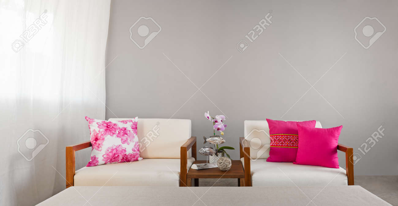 Bright sofa seat in luxury interior decoraton with orchids Stock Photo - 26505180