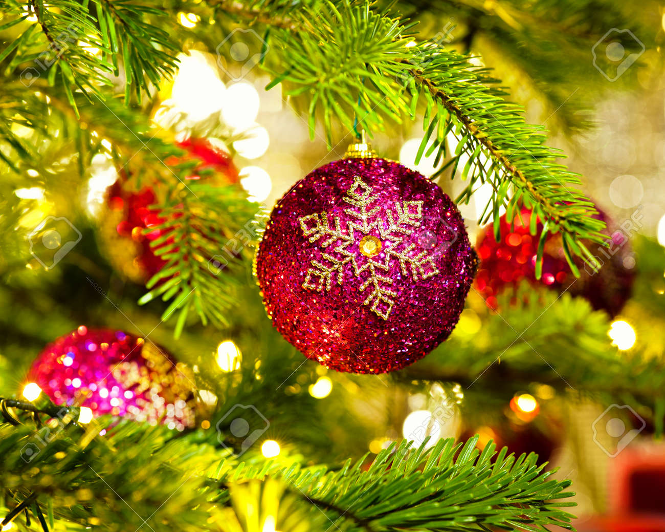 Bauble Ornament In A Real Christmas Tree In Bright Color Stock Photo Picture And Royalty Free Image Image 27305290