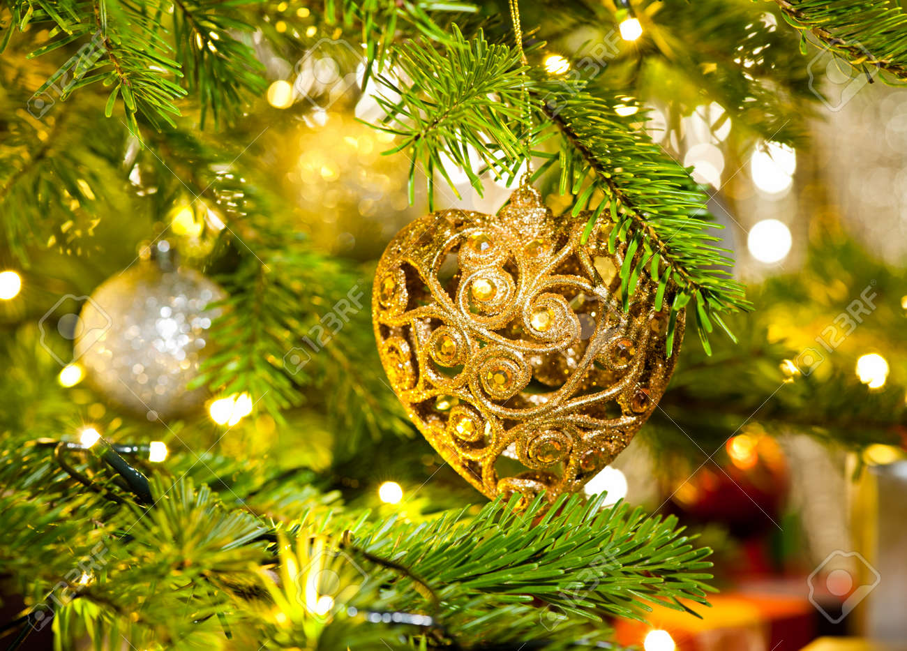 Xmas Ornament In A Real Christmas Tree In Bright Color Stock Photo Picture And Royalty Free Image Image 27883978