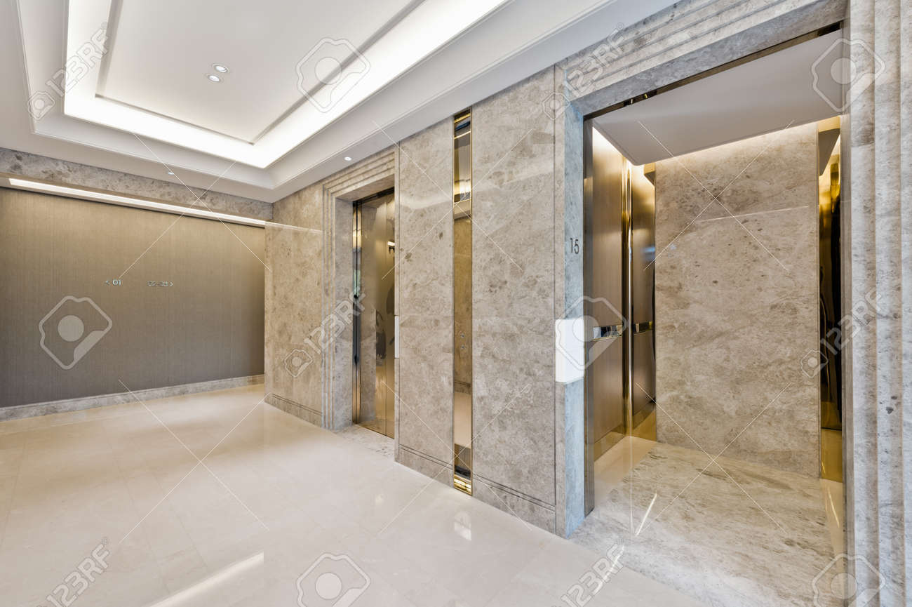 Lift Lobby In Beautiful Marble Without People Stock Photo Picture And Royalty Free Image Image 33580958