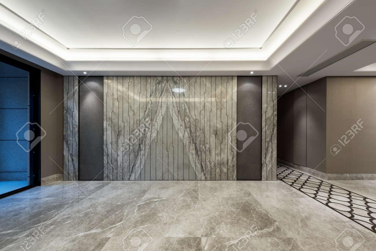 Banque Du0027images   Salle Vide Avec Un Sol En Marbre Gris Et Décoration Murale