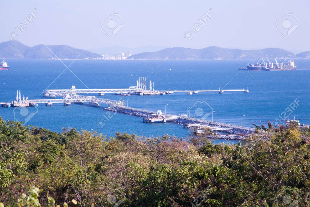 Gas pipelines. From the sea up the coast. There are many structures. Behind the island. Stock Photo - 12049627