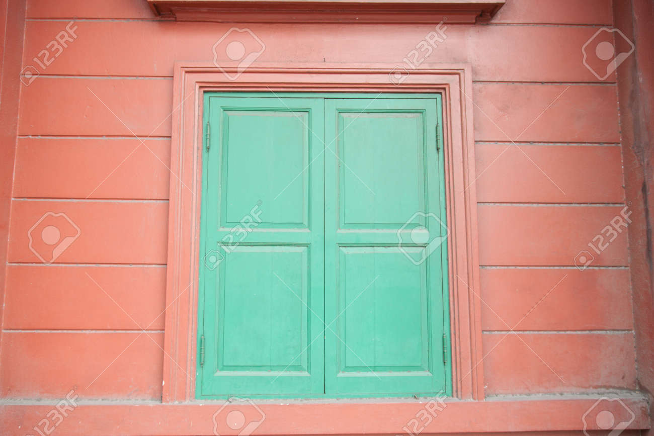 Green Window On Red Wall Design A Simple But Unique Stock Photo Picture And Royalty Free Image Image 18508804