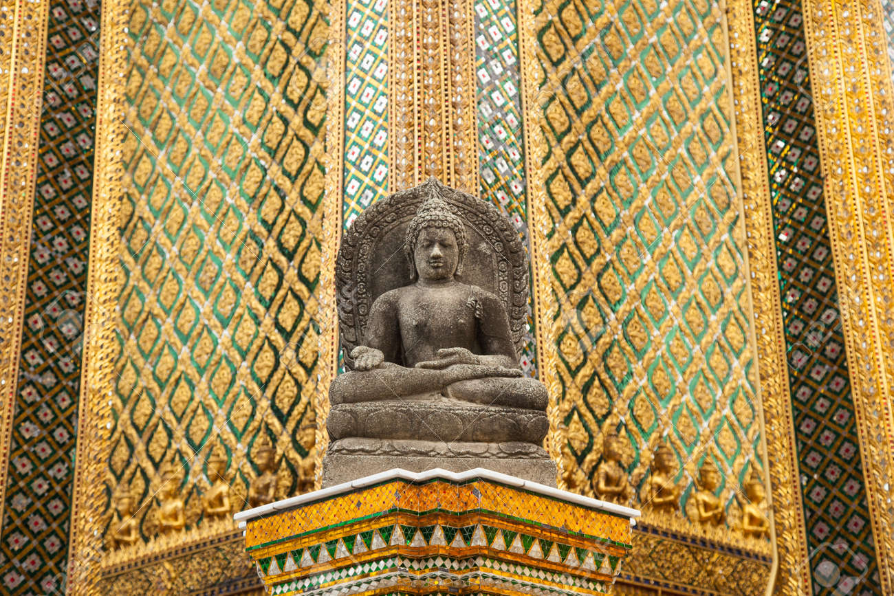 Buddha Temple Wall. Glass Art In Thailand. Patterned Walls Of ...