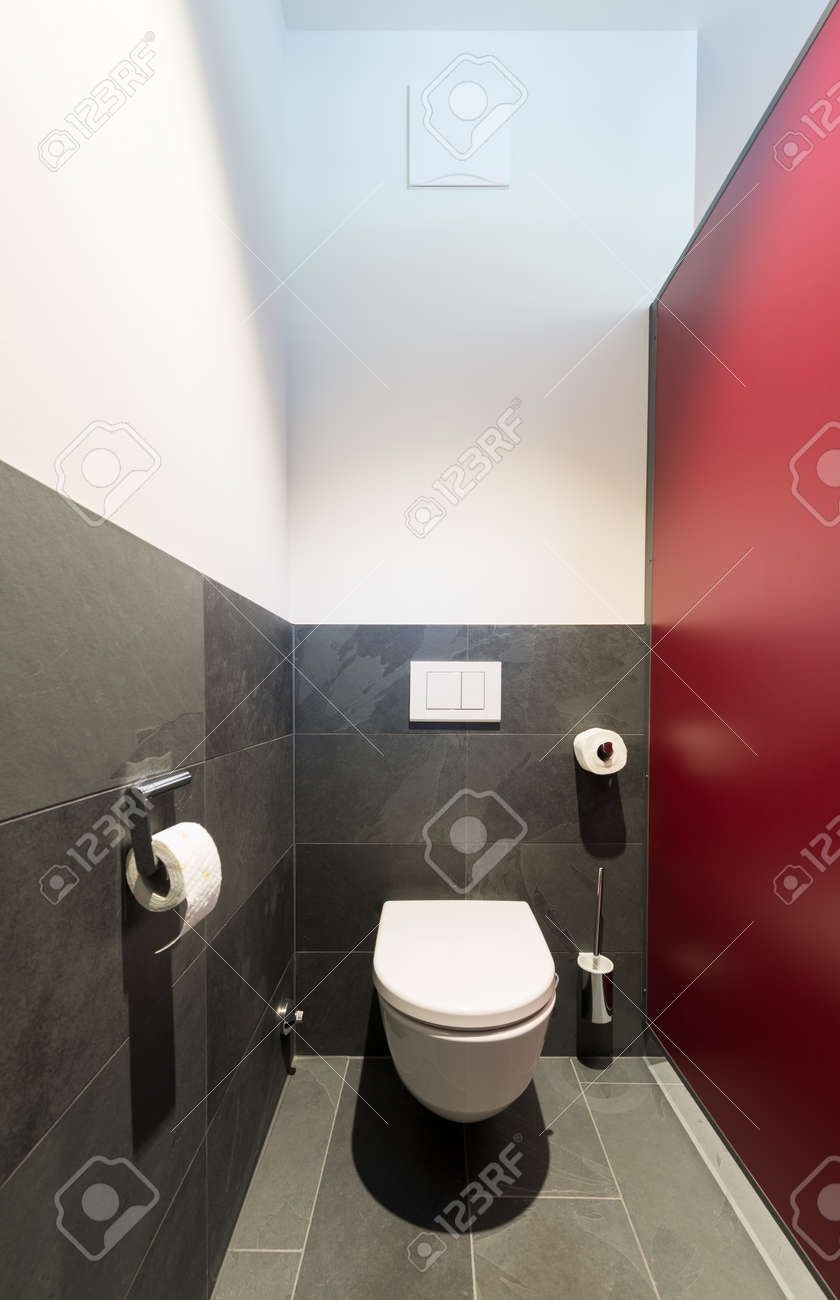 Modern Toilet Bowl With Dark Grey Slate Tiles And Red Dividing Wall Stock  Photo   33709889