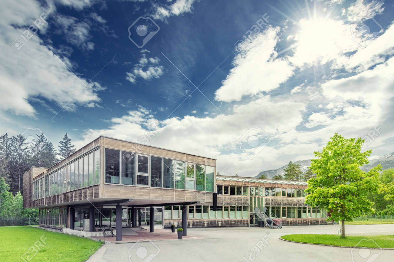Modern Sustainable And Ecological Timber Office Building Stock Photo