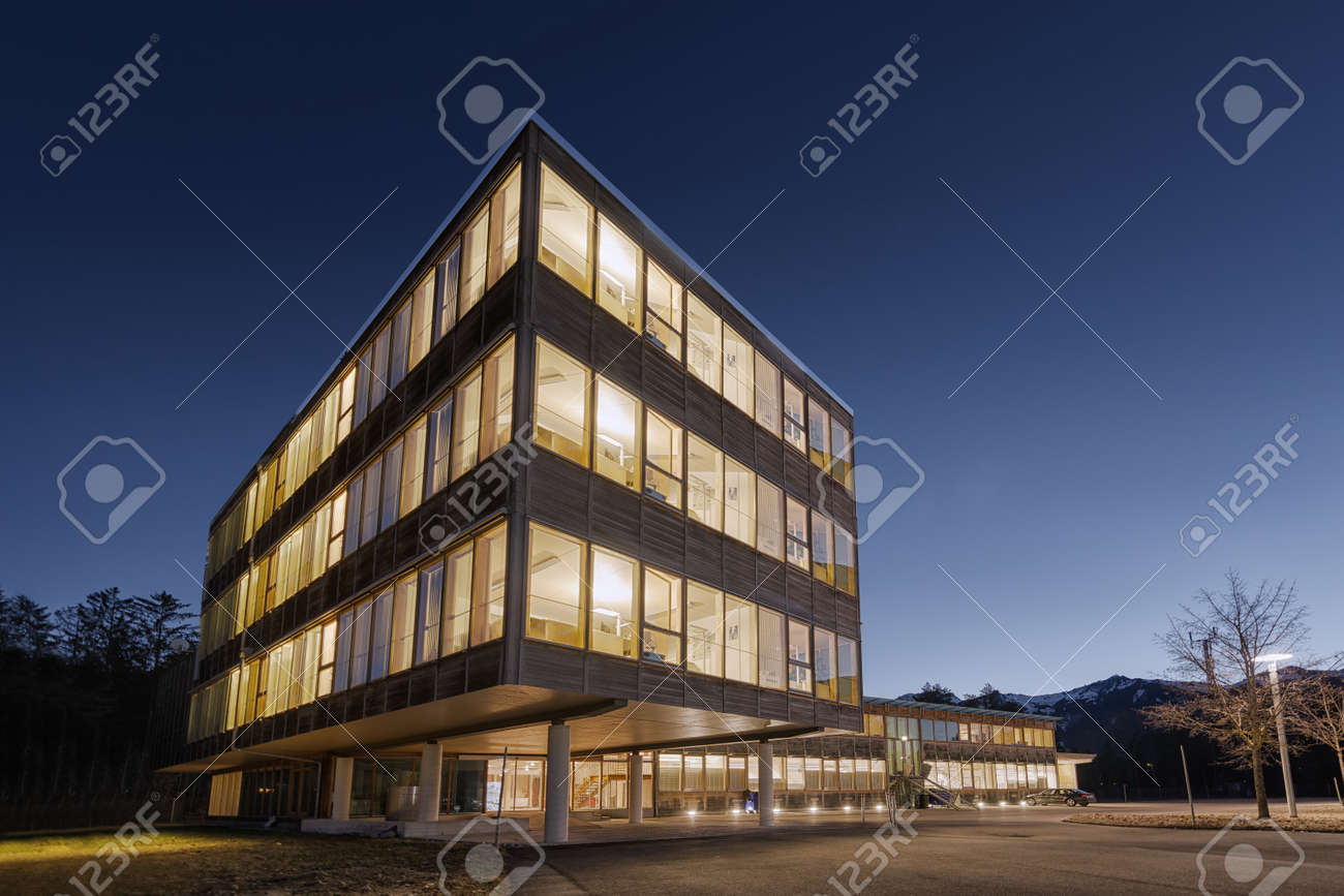 wooden office buildings. Huge Wooden Timber Sustainable Office Building At Dawn Stock Photo - 46412203 Buildings B