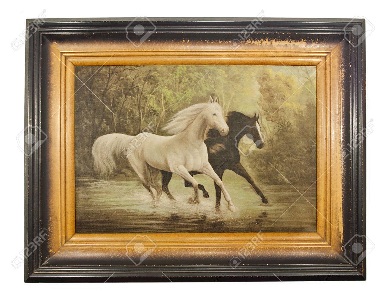 Tne Bild Zwei Pferde Im Alten Rahmen, Vintage, Isoliert Auf Weiß ...