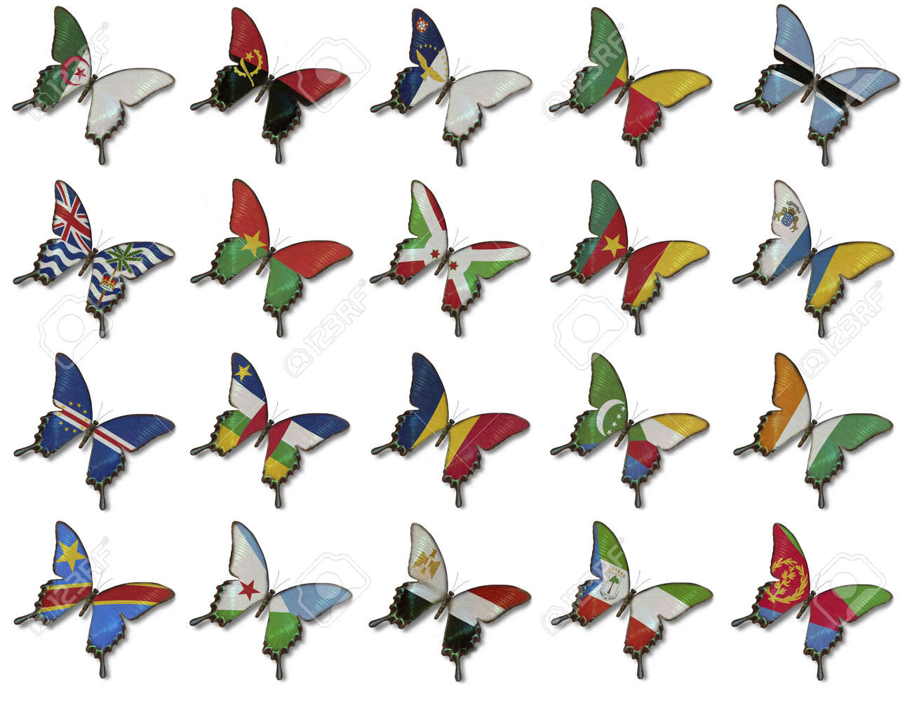 Collage from African flags on butterflies isolated on white Stock Photo - 14032282