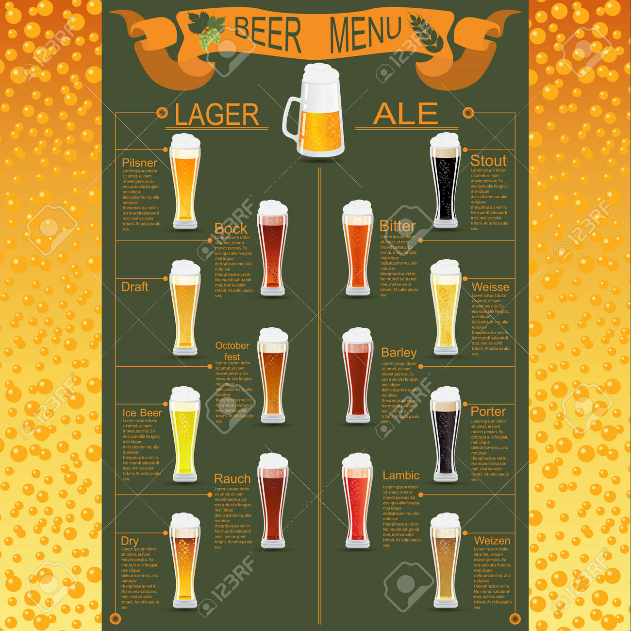Beer Menu Set Creating Your Own Infographics Vector Illustration – Beer Menu