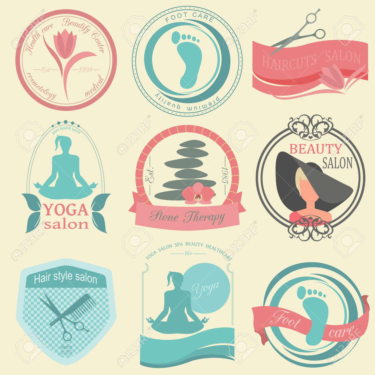 Set Von Vintage-Frisur, Körperpflege Und Kosmetik-Logos. Vector Logo ...