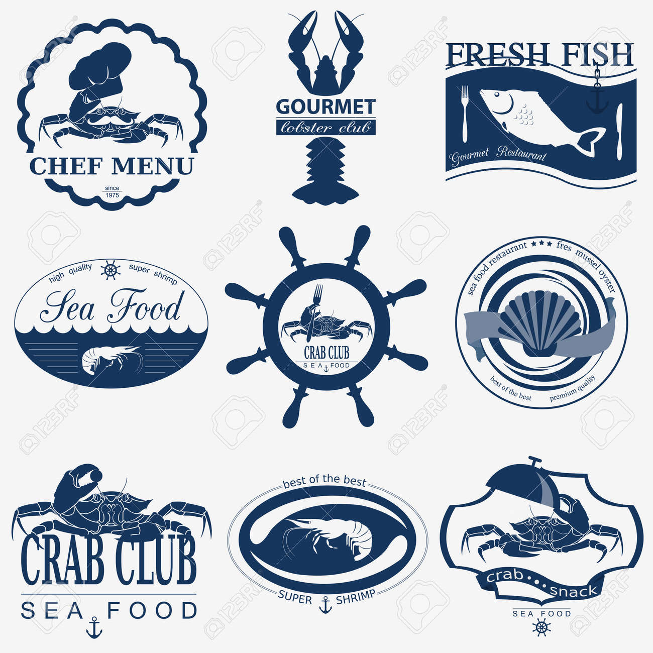 Set Weinlese Meeresfrüchten Logos. Vector Logo-Vorlagen Und ...