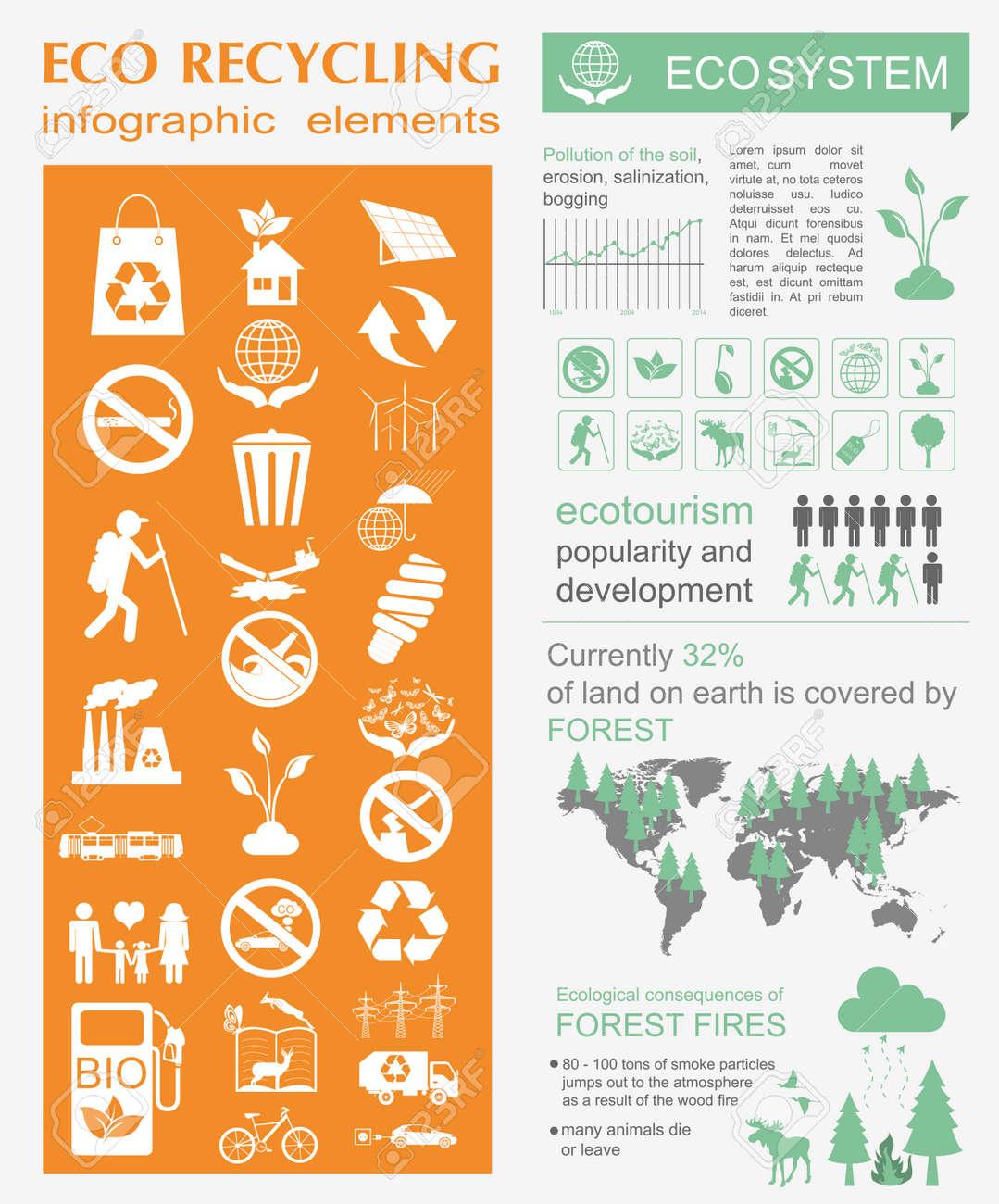 environment ecology infographic elements environmental risks ecosystem template vector illustration stock