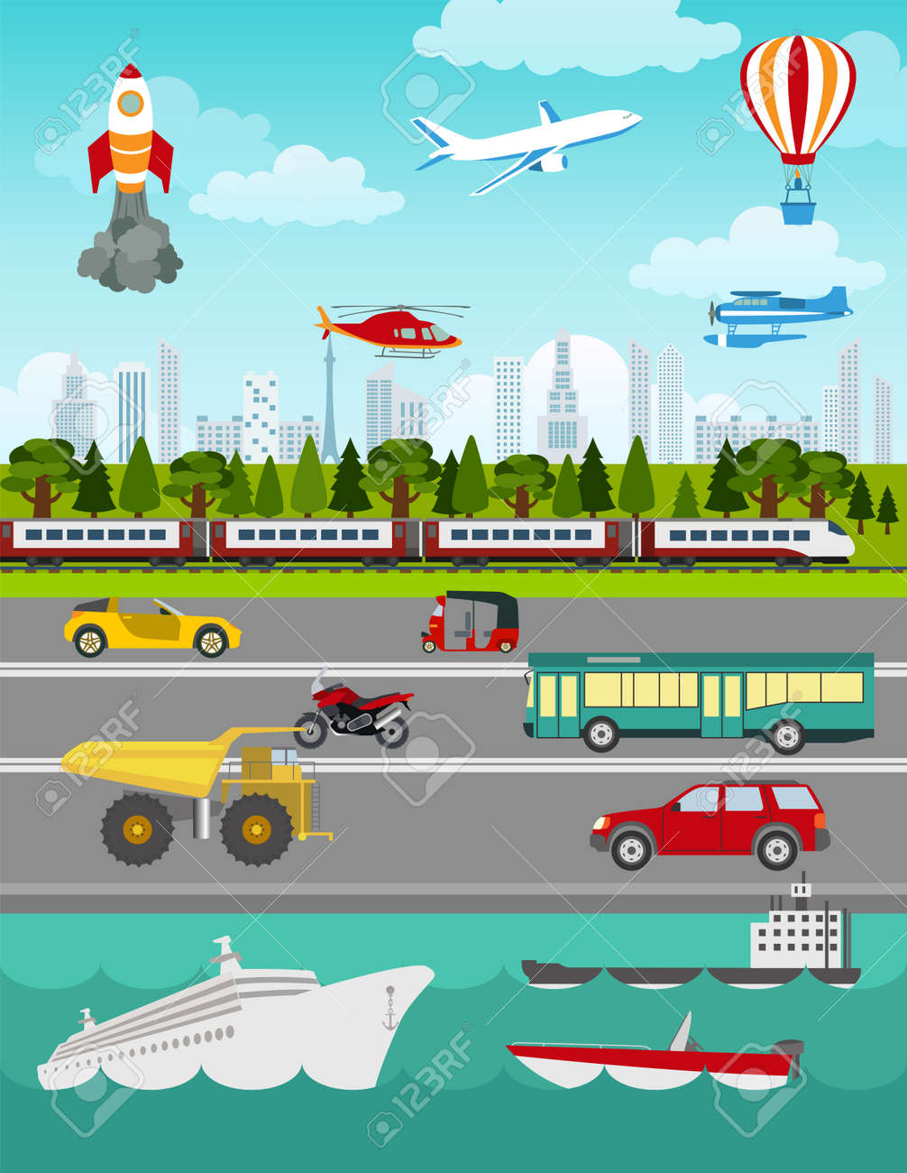 Transport infographics elements. Cars, trucks, public, air, water, railway transportation. Retro styled illustration. Vector - 42566312