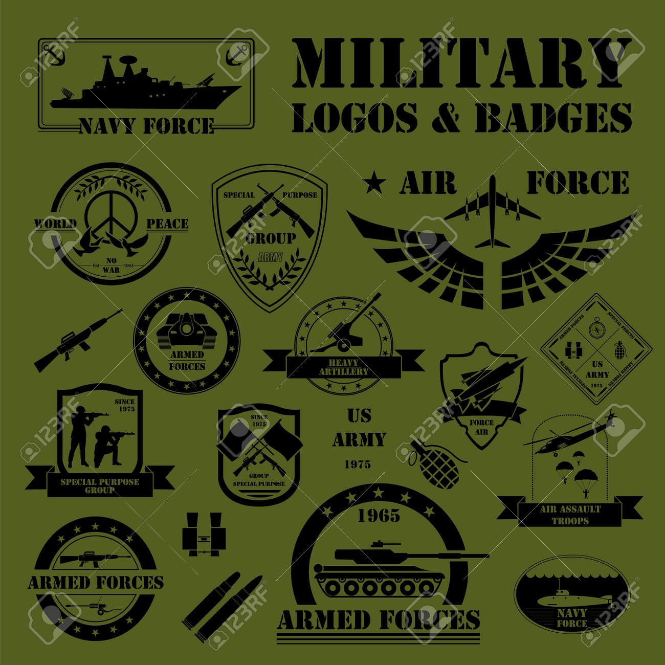 Militär Und Gepanzerte Fahrzeuge Logos Und Abzeichen. Grafik Vorlage ...