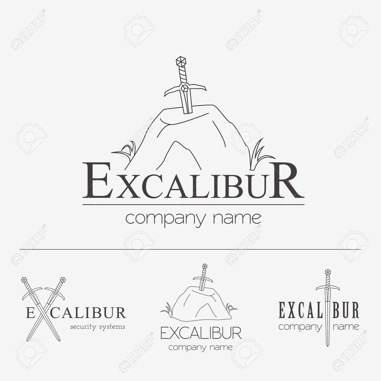 Excalibur Umreißen Insignias Und Firmenzeichen Gesetzt. Vector ...