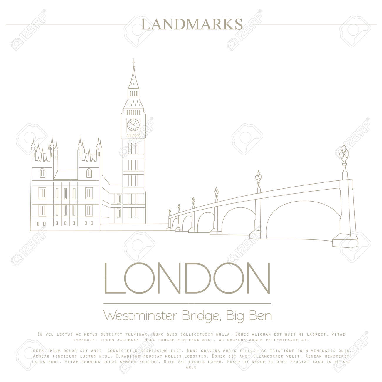 westminster abbey, the bridge, big ben  graphic template  logos and badges   linear design  vector illustration