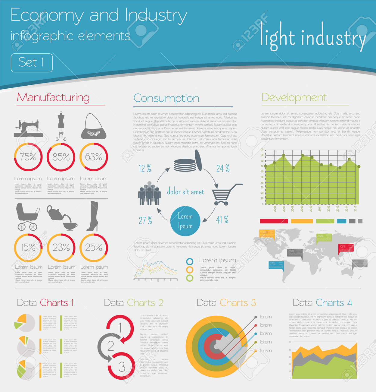 Economy And Industry. Light Industry. Industrial Infographic Template.  Vector Illustration Stock Vector