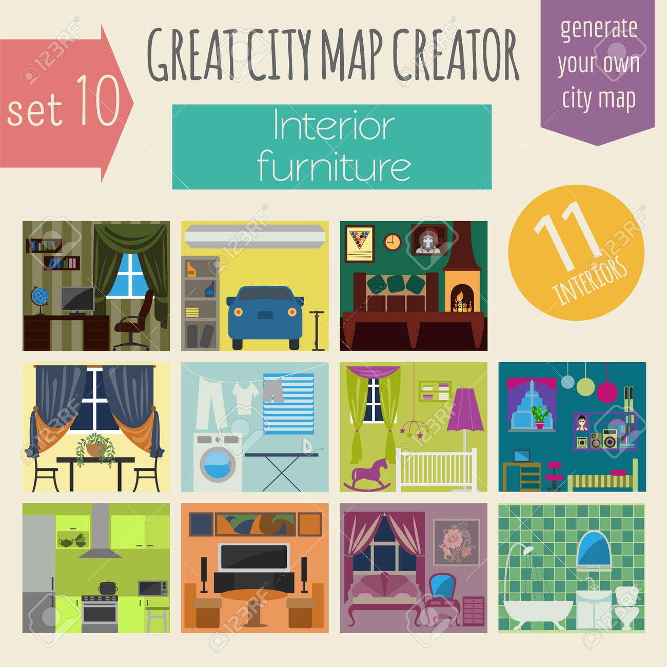 Great City Map Creator. House Constructor.Interiors, Furniture ...